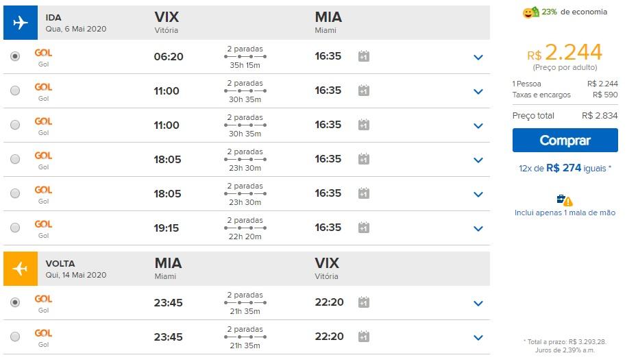 passagem promocional Vitoria para Miami